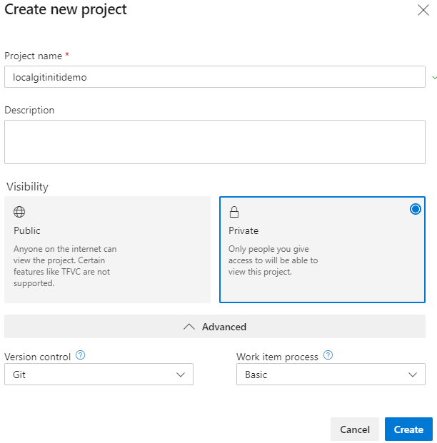 Local repository create Azure DevOps project