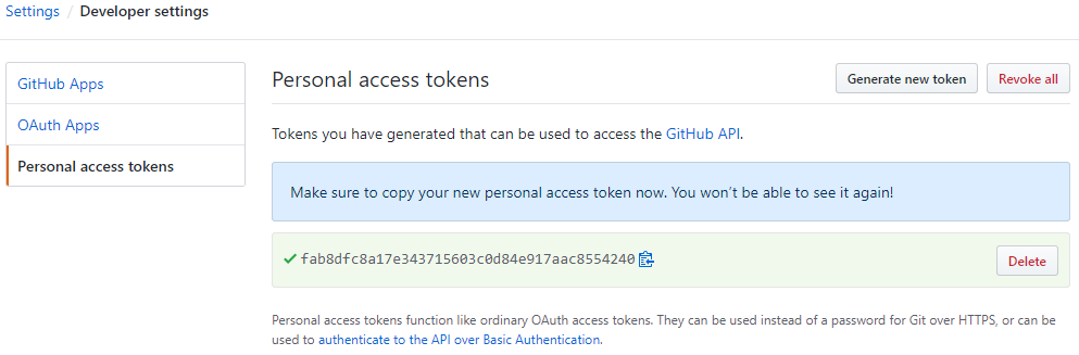 GitHub generated token