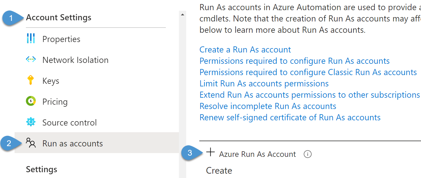 Enabling Run As automation account