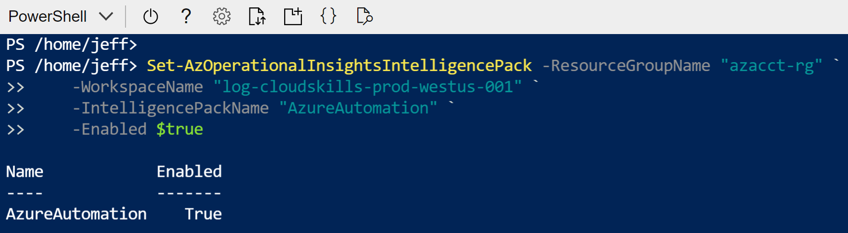 Enable Azure Automation in workspace