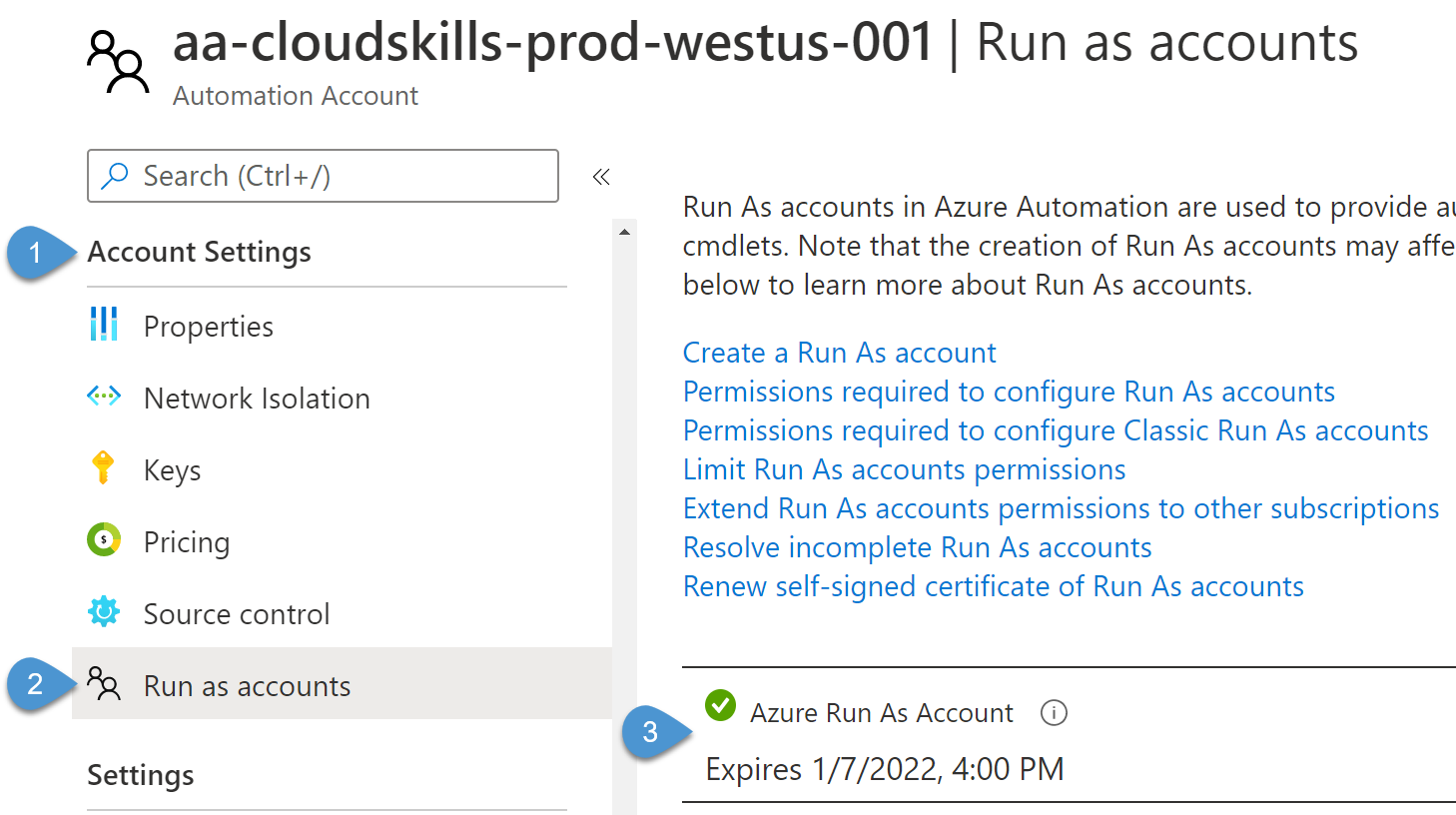 Viewing Automation Run As account