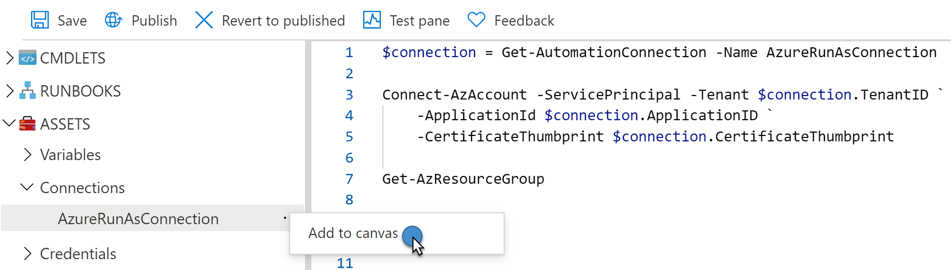 Runbook code to connect to Azure