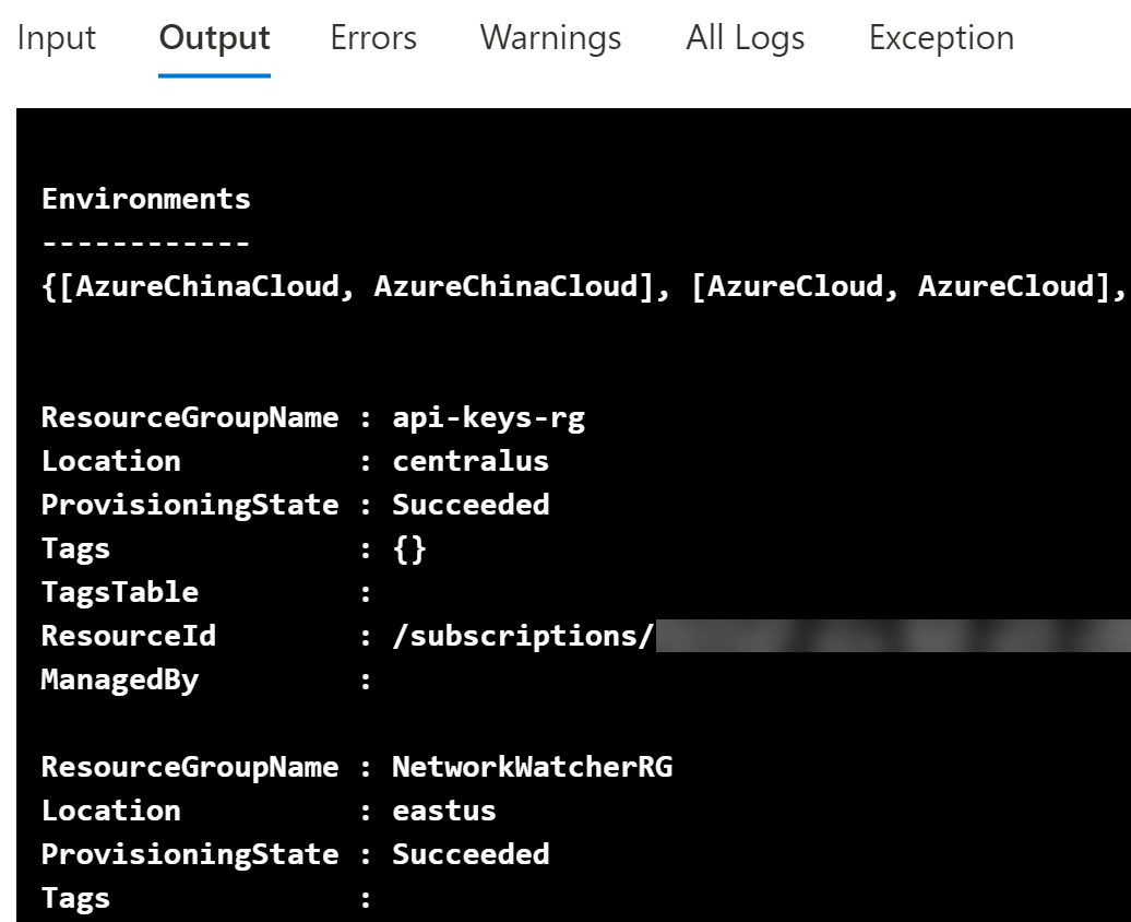 Viewing runbook output connecting to Azure