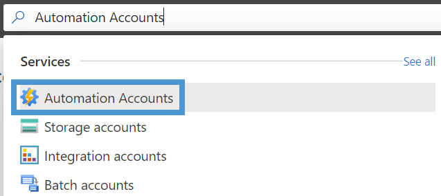 Searching for Automation Accounts in Azure portal