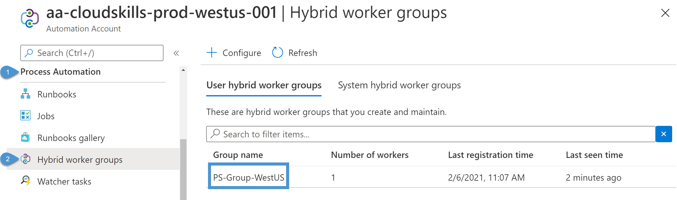 Viewing hybrid worker groups