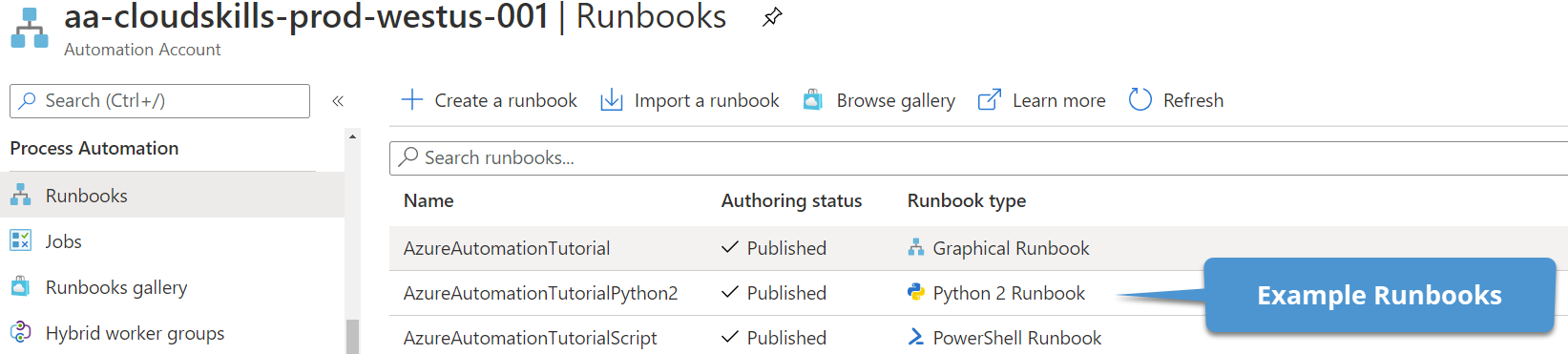 Viewing automation runbooks